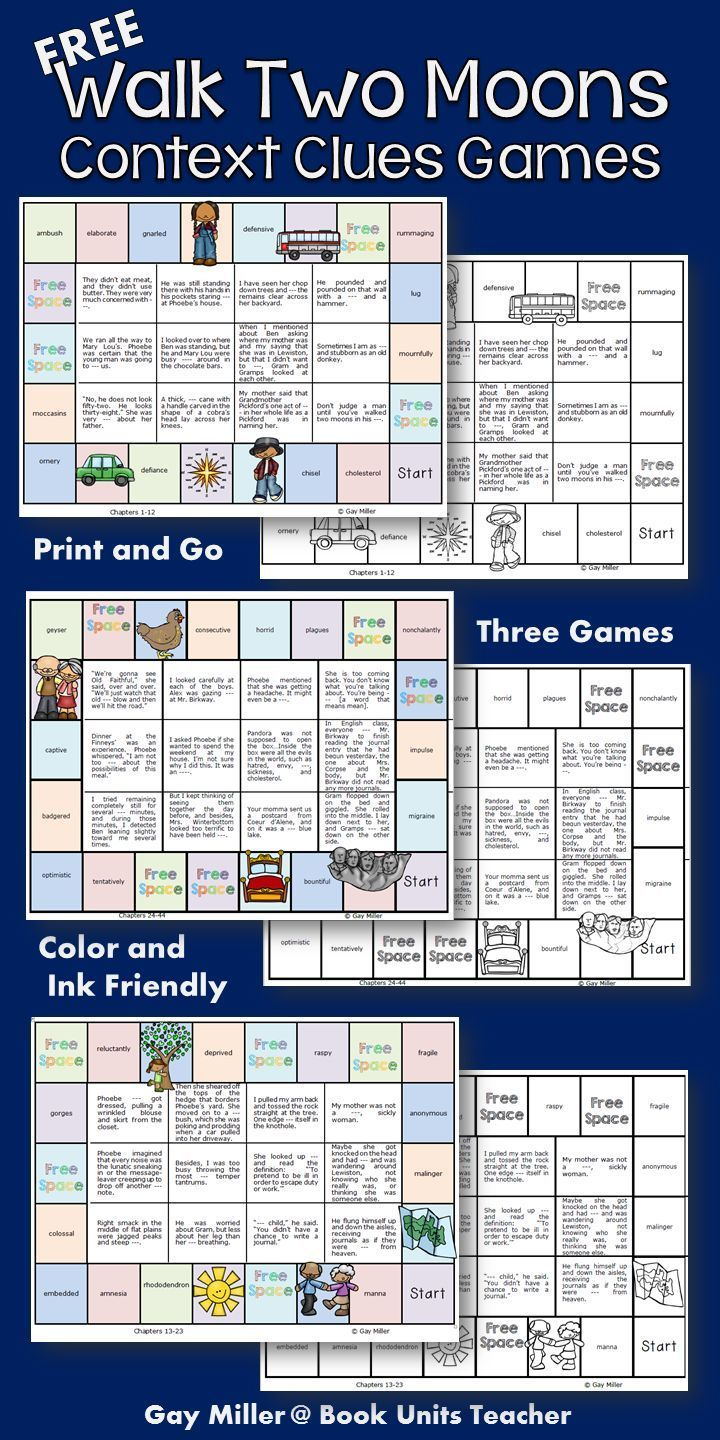 Three Free Context Clues Games to use with Walk Two Moons