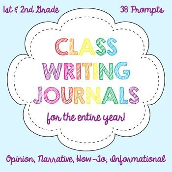 Bundle includes 38 whole class writing journal covers for you to use throughout the year. Journal covers include topics for opinion, how-to, informational, and narrative writing topics. Directions and sentence frames are given on the front of each cover to assist each student with a successful writing piece.Just print and attach the journal cover to the front of a spiral ring notebook for an instant literacy center activity.
