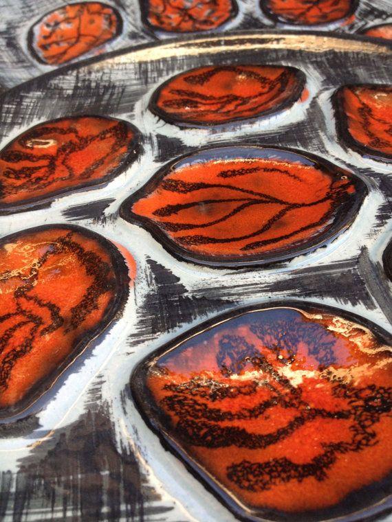 Assiettes et plat à huitres peint à la main par VINTAGEorangeBAZAR