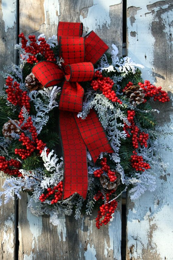 Christmas Wreath Plaid Ribbon Snow Cedar by sweetsomethingdesign #kerstkrans