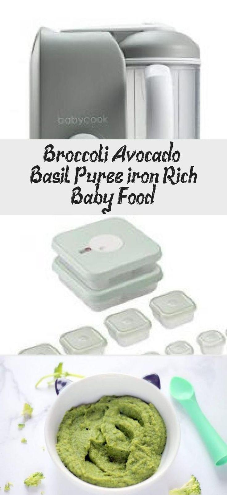Broccoli avocado basil puree iron rich baby food
