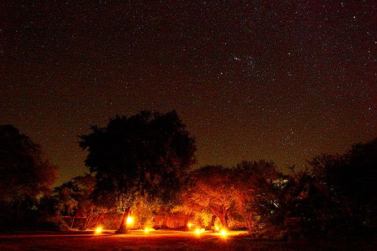 Return to the perfectly lit Varty car-park after an evening on safari