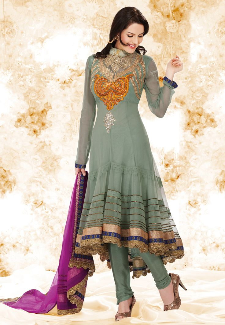 #Grey Net #Anarkali Churidar Kameez