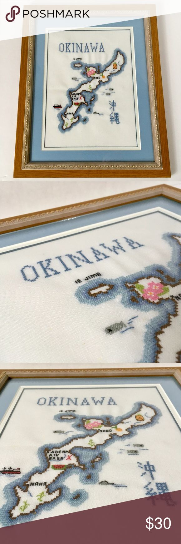 Okinawa Japan Framed Cross Stitch This pre-owned f…