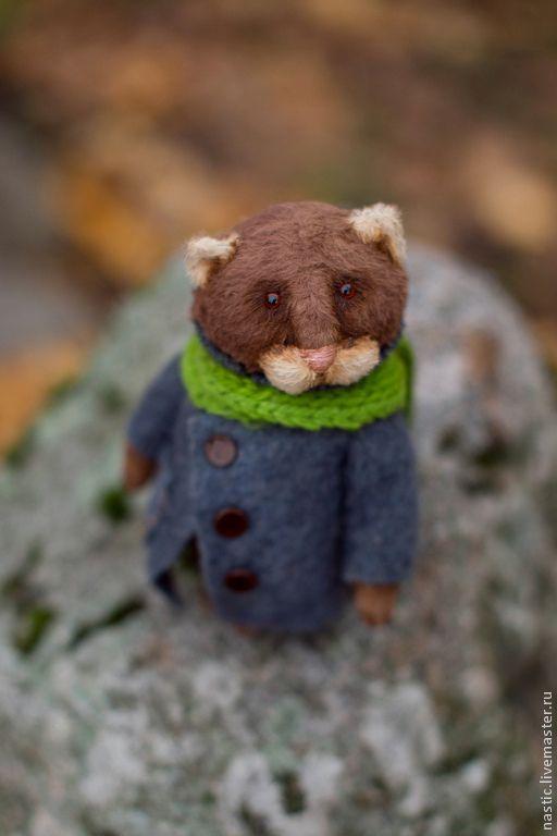 Купить закружилось листвой время... - коричневый, осень, кот, котик, авторская игрушка, вискоза Германия