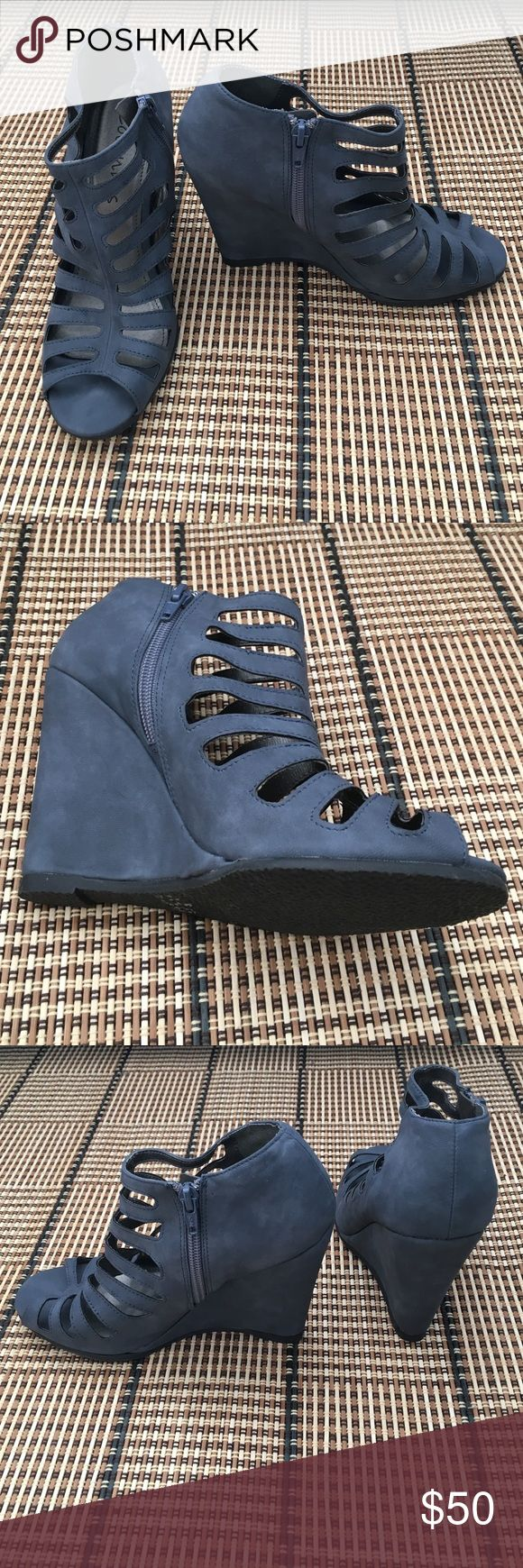 "*Brand New* gorgeous blue wedges These are brand new without the original tags or box. They have never been worn. There are no markings for the size but I'm guessing it's a 7.5 based on the fit. Looks to be about a 4"" wedge height. Coconuts Shoes Wedges"