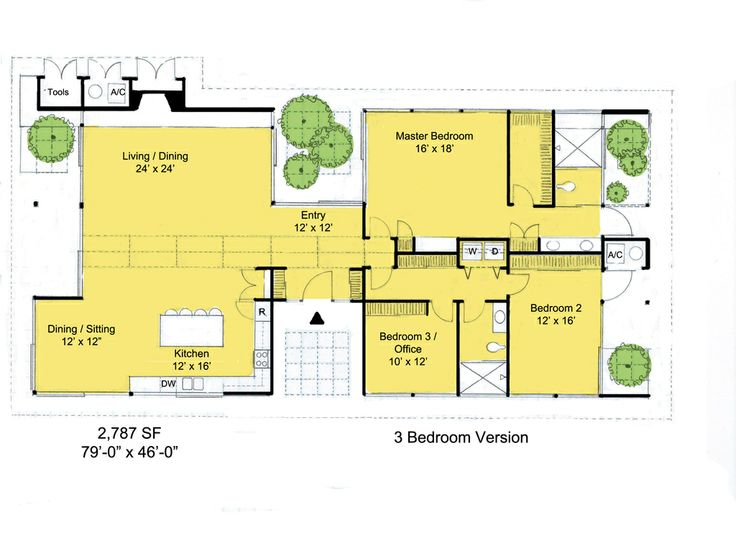 Houseplans.com Ranch Main Floor Plan Plan #544-3