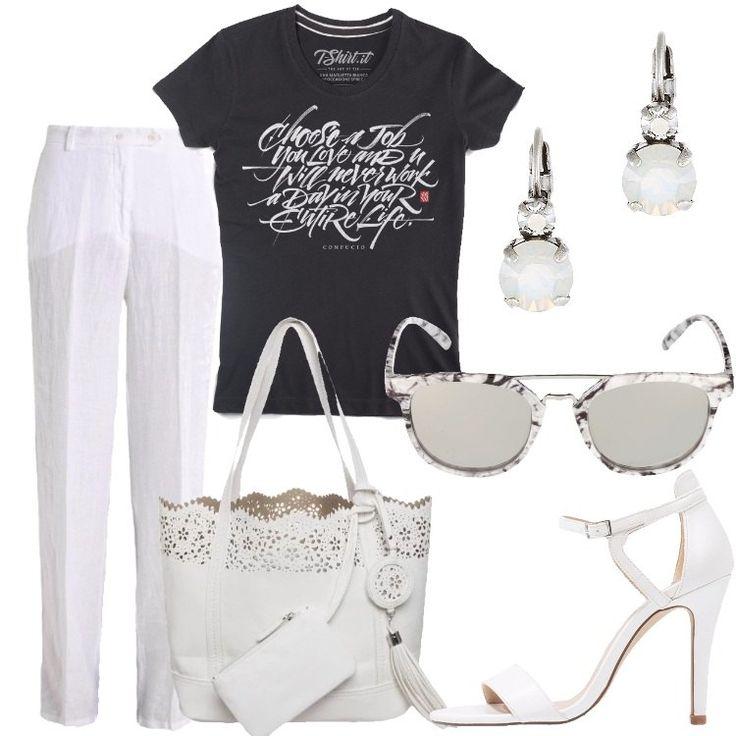 La T-shirt è nera con una frase di Confucio in bianco. I pantaloni di lino sono bianchi, a vita alta e con tasche laterali e posteriori. La borsa, capiente, è anch'essa bianca, in finta pelle con la parte superiore ad effetto ricamo. I sandali con il tacco a spillo e il cinturino alle caviglie sono bianchi. Gli orecchini in metallo hanno la pietra bianco latte e gli occhiali da sole hanno la montatura bianca e nera, effetto marmo.