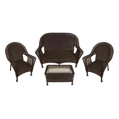 4 Piece Brown Resin Wicker Patio Furniture Set  2 Chairs Loveseat U0026 Table