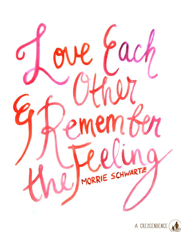 Love Each Other And Remember The Feeling Tuesdays With Morrie Quote Lettering By Acrescendence