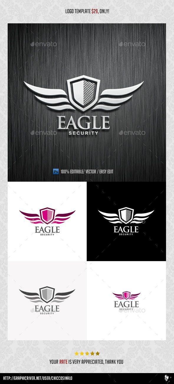 Eagle Security   Logo Design Template Vector #logotype Download it here: http://graphicriver.net/item/eagle-security-logo-template/8980667?s_rank=1395?ref=nexion