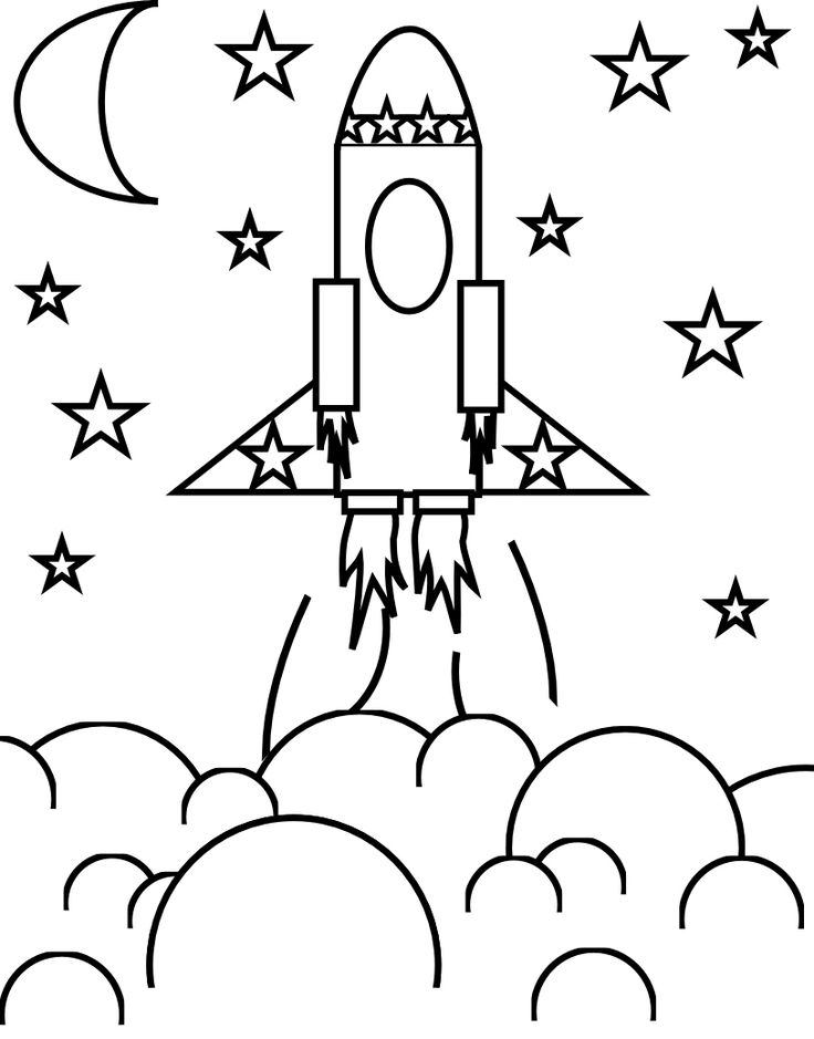 Smarty Pants Fun Printables: Flower Craft and Rocket Ship coloring page
