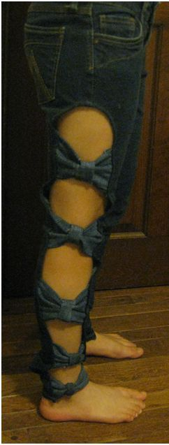 side bow jeans sew (this is kinda weird but on a skirt with holes patched with cute material would prob be cute)