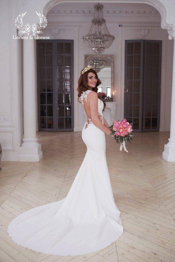 Laconic Skinny Mermaid Wedding Dress Off White Slinky Smooth Etsy Affordable Bridal Dresses Skinny Wedding Dress Lace Mermaid Wedding Dress