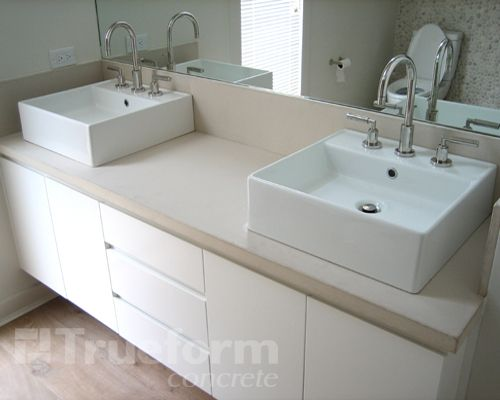 Concrete Countertop With Square Vessel Sinks For Guest