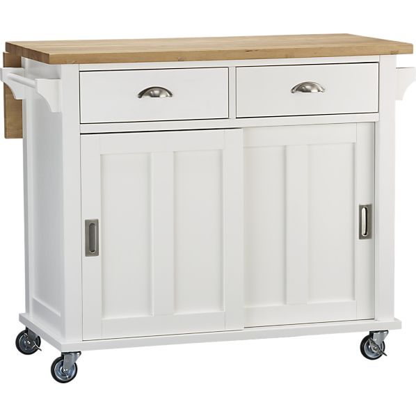 Belmont White Kitchen Island in Kitchen Islands, Carts | Crate and Barrel