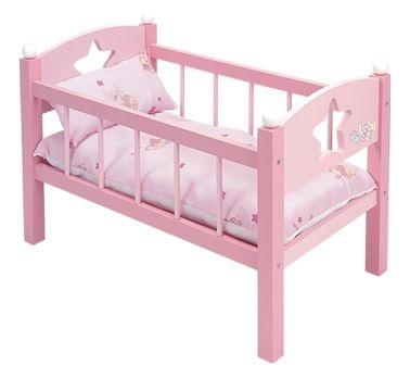 Cuna de muñecas de madera con ropa de cama
