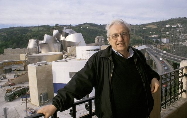TEMPLATE: Frank Gehry, architect of the Guggenheim Museum of Bilbao, beside the building in the Basque city in Spain. Picture: CARLOS DE ANDRES/COVER/GETTY IMAGES http://ow.ly/rgPQk