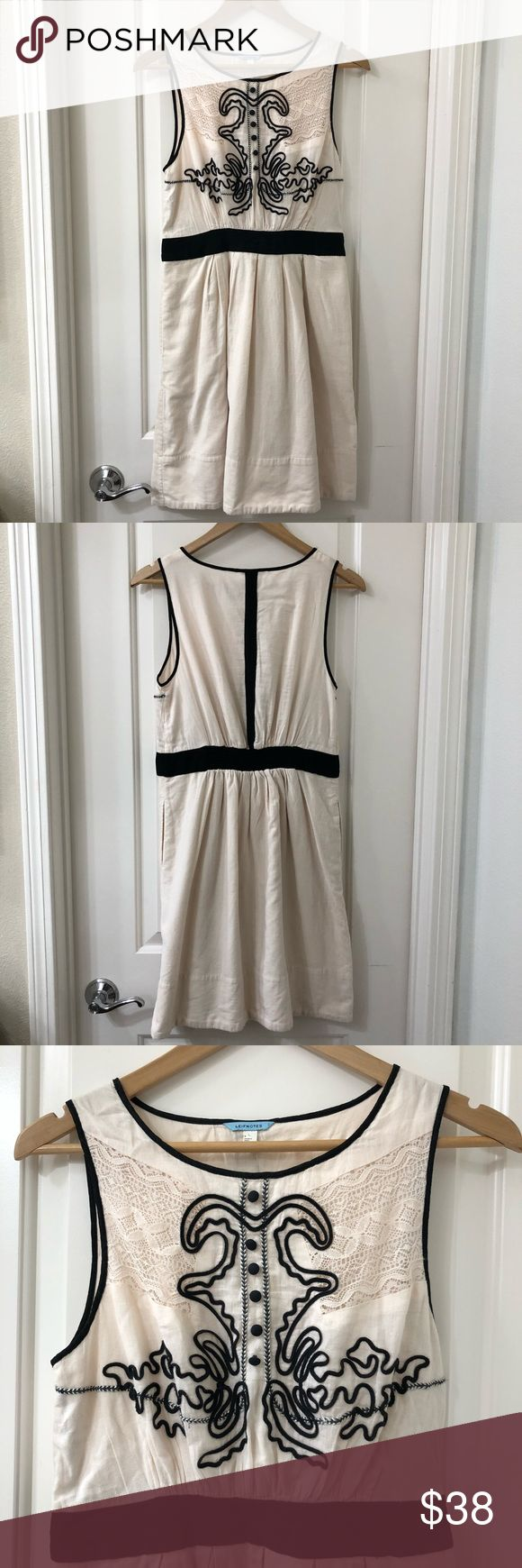 "Anthropologie Leifnotes Open Air Theater Dress Anthropologie Leifnotes Open Air Theater Dress. Size 6. Bottom skirt is corduroy with pockets. Waistband in the back has elastic for the perfect fit. Beautiful detailing.  Armpit to armpit: 15.5"" Length: 35.5"" Anthropologie Dresses Mini"