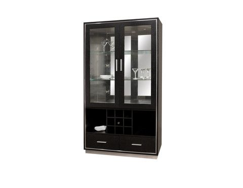 "The Jordan Curio/Bar is an excellent piece for storage and display. The two drawers and glass shelves offer plenty of storage while the open shelves and bottle rack make it an ideal bar accessory. Two Halogen lights illuminate the display. This curio is great for any living or dining room.  Curio	39"" Wide	18"" Deep	70"" High"