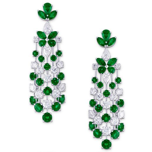 Graff Multi shape emerald and diamond butterfly motif earrings. Emeralds 14.31 cts., diamonds 9.5 cts.