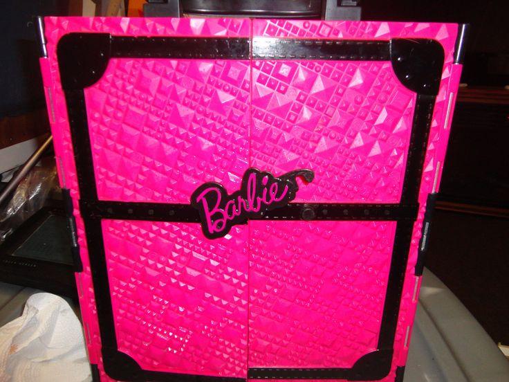 2011 Mattel Barbie Wardrobe Closet Carrying Case Pink and Black
