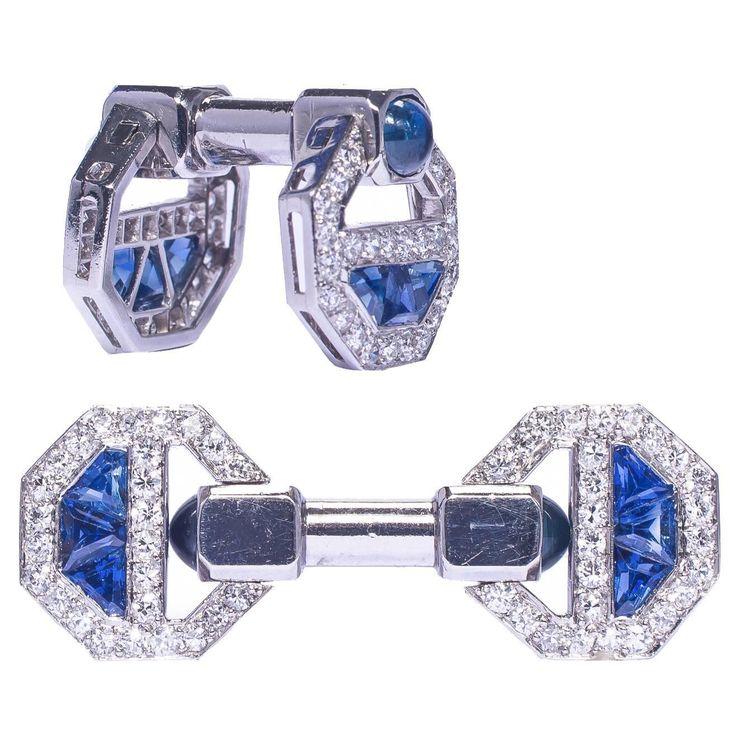 Cartier Magnificent Art Deco Sapphire Diamond Cufflinks | From a unique collection of vintage cufflinks at https://www.1stdibs.com/jewelry/cufflinks/cufflinks/