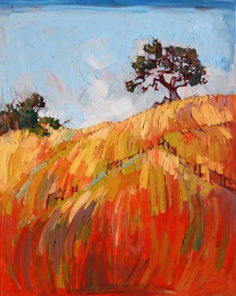 Paso Robles Oil Painting by Erin Hanson Red and Gold II