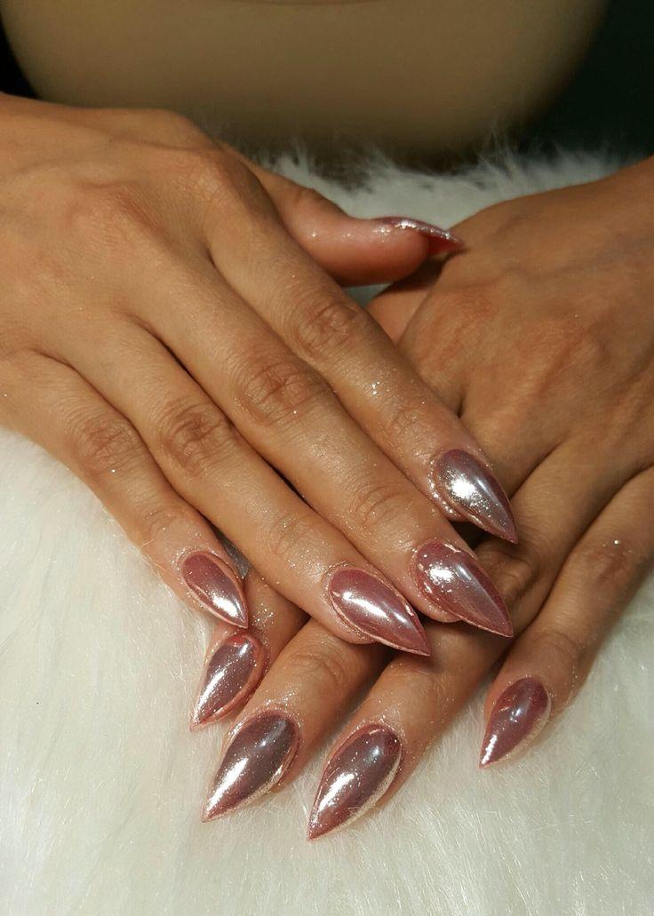 Rose Gold Chrome Nails Gold Chrome Nails Nails Chrome Nails