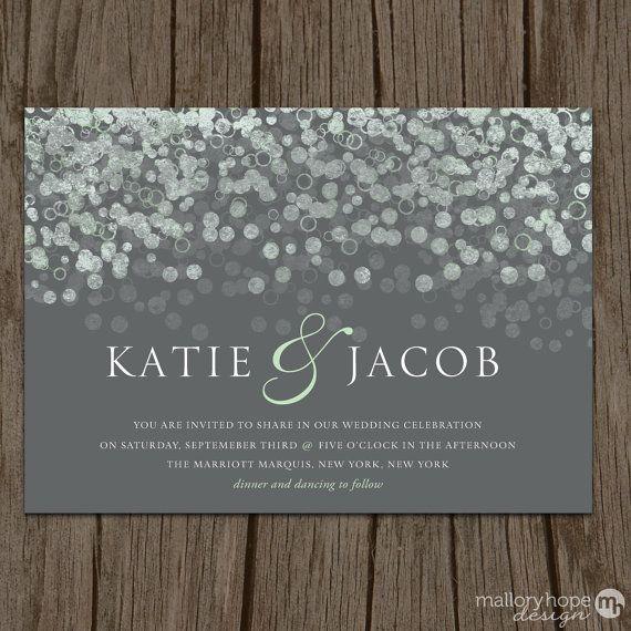 Champagne Bubbles Modern Wedding Invitation & by MalloryHopeDesign, $2.95