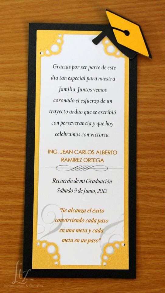 Souvenir, recordatorio o invitación para Graduación. tarjetería, invitaciones, handmade, hecho a mano. Graduation party invitations or favors.