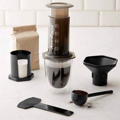 Williams Sonoma Aeropress Coffee Maker This is a great coffee maker.  The coffee is smooth and it doesn't take long to brew.  Great gift for a coffee person.