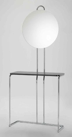Stunning hallway or bedroom piece. Wolfgang Hoffmann Console Table, in chrome and black lacquer, design from the 1930s.