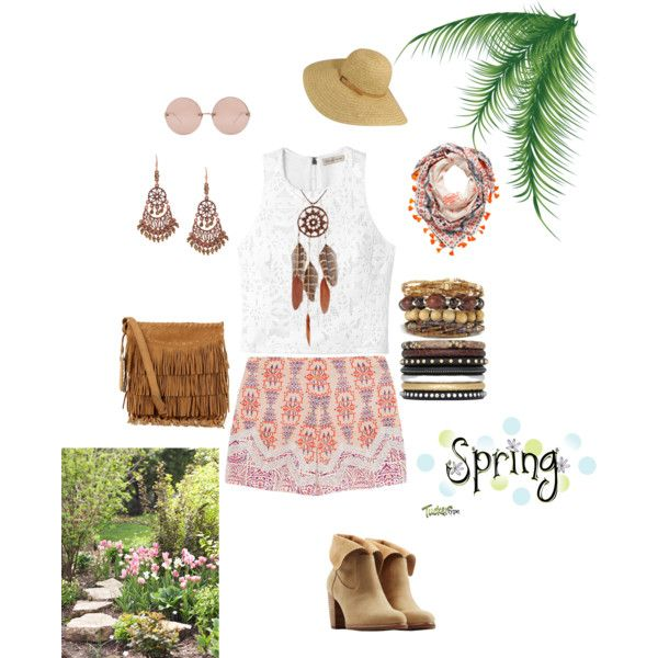 bohemian style by elenilor on Polyvore featuring Rebecca Taylor, Etro, UGG Australia, Polo Ralph Lauren, Yves Saint Laurent, 1928 and Linda Farrow