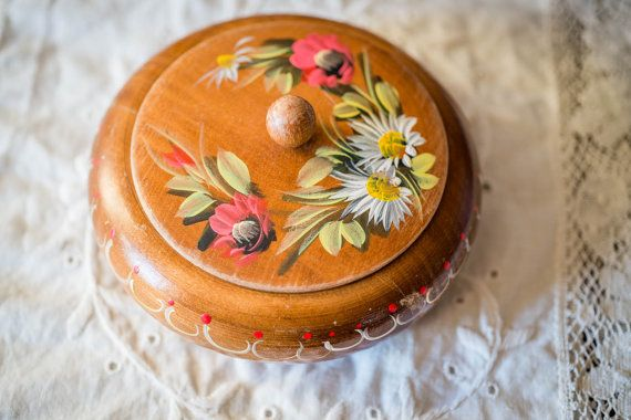 Vintage Round Wooden Box  German made by by VintageDelightShop