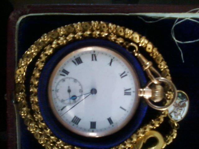 Antique gold Chain Pocket Watch of Queen Victoria time. Made during Maharana Fateh Singh ji of Mewar (Udaipur). Call 9667847366...for further details