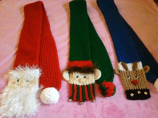 Free Crochet Patterns For Christmas Scarves : Loom knit christmas scarves /Santa, Elf, Rudolph My ...