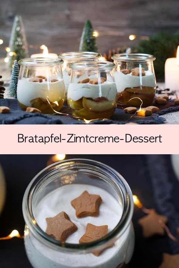 Einfaches Bratapfel-Dessert mit leckerer Zimtcreme und kleinen Lebkuchensternen | Fräulein Meer backt #dessert #nachtisch #bratapfel #imglas