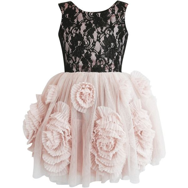 DOLLY by Le Petit Tom REBELLIOUS DRESS black/ ballet pink ($191) ❤ liked on Polyvore featuring dresses, cocktail party dress, lace prom dresses, lace cocktail dress, lace dress and pink prom dresses