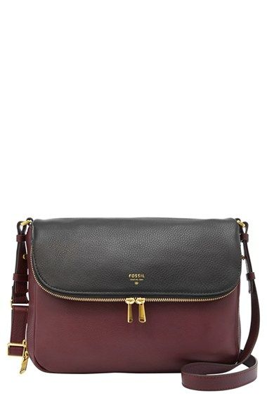 Fossil 'Preston' Crossbody Bag available at #Nordstrom. Bordeaux with black is a perfect color combo