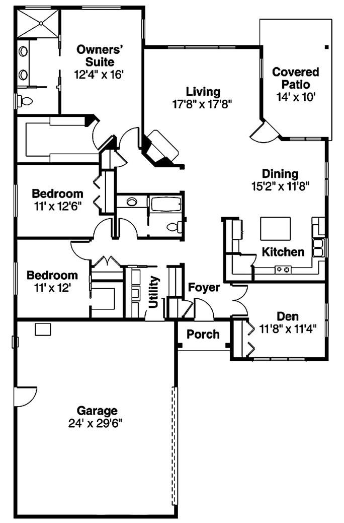 Prairie Style Home With 2091 Living Square Feet 3 Bedrooms And 2 Baths Theplancollection 108 1907 Ranch House Plans Prairie Style Houses Condo Floor Plans