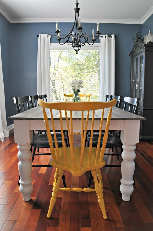 I like the idea of painting the head chairs a different/brighter color than the others.