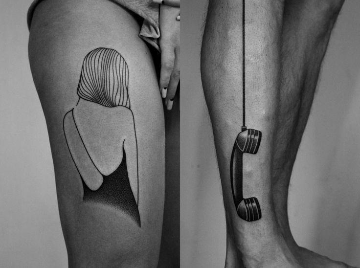 tattoo-motive-surreal-frau-telefonhoerer-oberschenkel-unterschenkel
