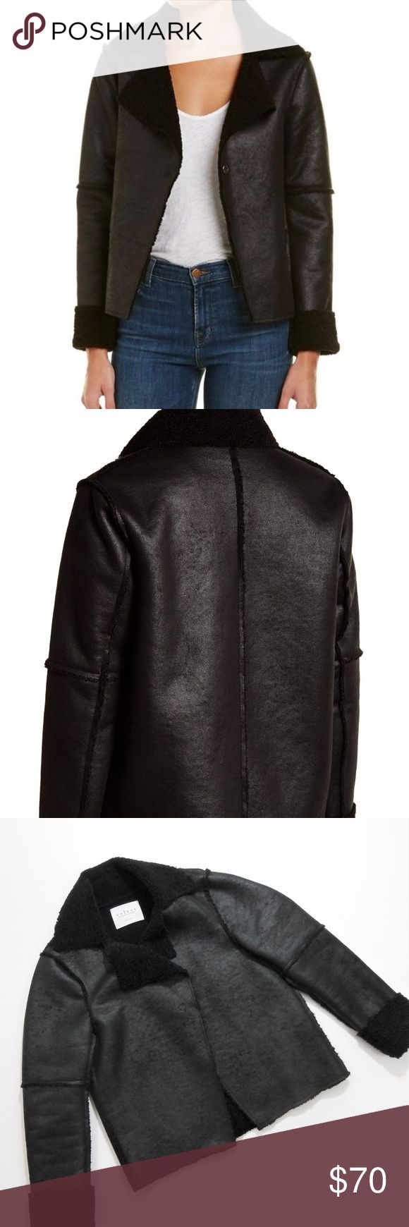 """Velvet by Graham & Spencer Shearling Jacket Velvet by Graham & Spencer Faux Suede Shearling Lined Jacket  Details:  - Color: Onyx - Notch lapel - Long sleeves - Concealed front snap button closure - Faux suede construction - Faux shearling lining - Imported - Faux suede/Faux shearling lining: 100% polyester - Approx. 23"""" length, 38.5"""" bust laid flat  Worn once. Looks new! I also still have the tags which came attached with a safety pin and can therefore be easily reattached! Velvet by Graham…"""