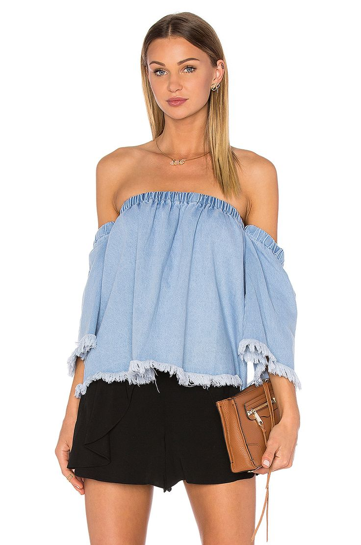 J.O.A. Off The Shoulder 3/4 Sleeve Top in Baby Blue