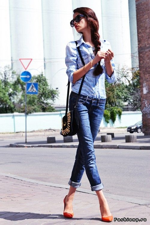 Denim with colorful pumps.