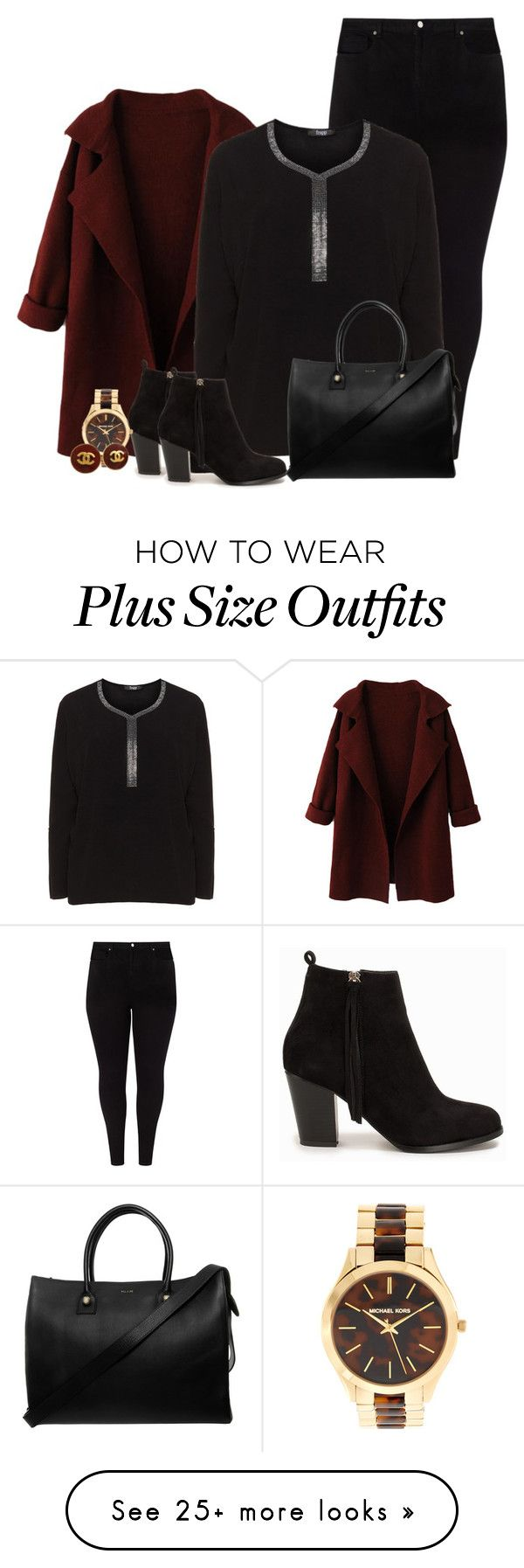"""plus size outfit"" by hitthisfeeling on Polyvore featuring Studio 8, Frapp, Nly Shoes, Michael Kors, Chanel, Paul & Joe, plussize and plussizefashion"