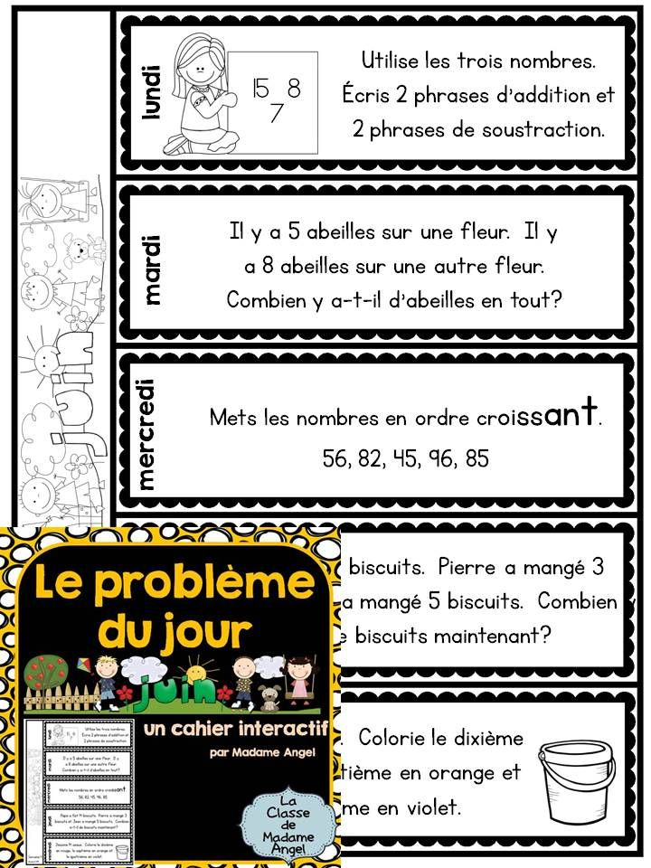 $ Math problem of the day flip book in French for the month of June! Le problème du jour - un cahier interactif!