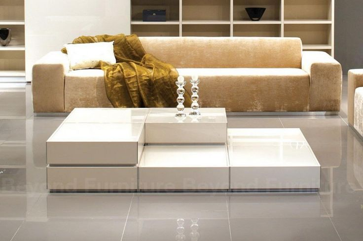 Living Room. Adorable Modular Coffee Table Idea With Sofa Set With Luxury Cushions And Sheets And Cool  Ornament On Table With Glass Material .