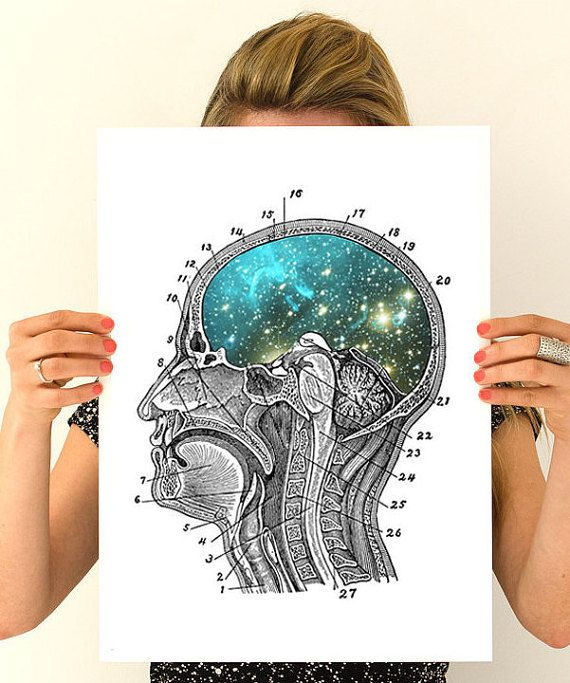 Cosmic galaxy brain wall art human anatomy home decor, Its perfect as a t !  After many years that our costumes asked for BIGGER sizes, here they are! We hope you love them! We selected our top selling designs to offer them in A3 size with white background, nice weight canvas textured paper. If you are looking for a larger print, then this is perfect for you. We print an enlarged version of the image onto an A3 page along with an overprint of text from an antique book page. The image is…